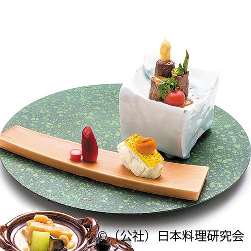 鱸もろこし焼、福島牛季節野菜巻
