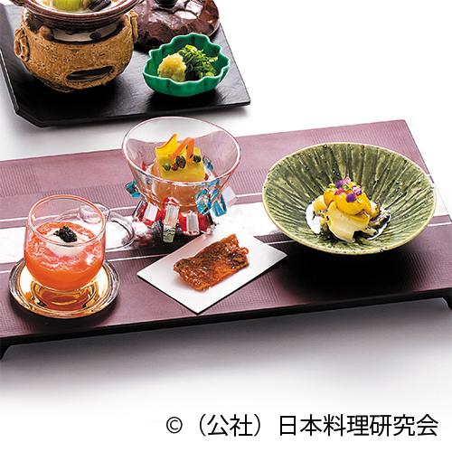 赤パプリカムース、生ハム・冬瓜博多、鮑味噌漬