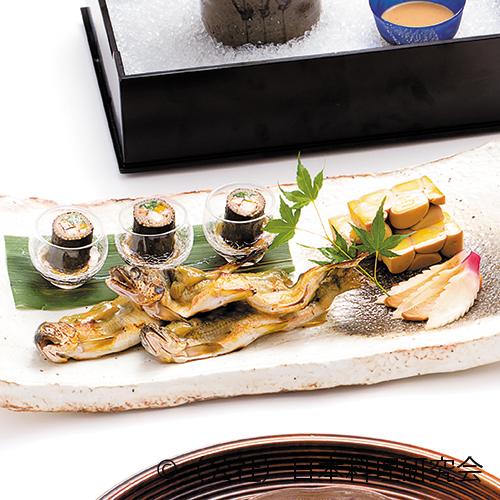 鮎蓼味噌焼、石垣鶉玉子、蕎麦寿司