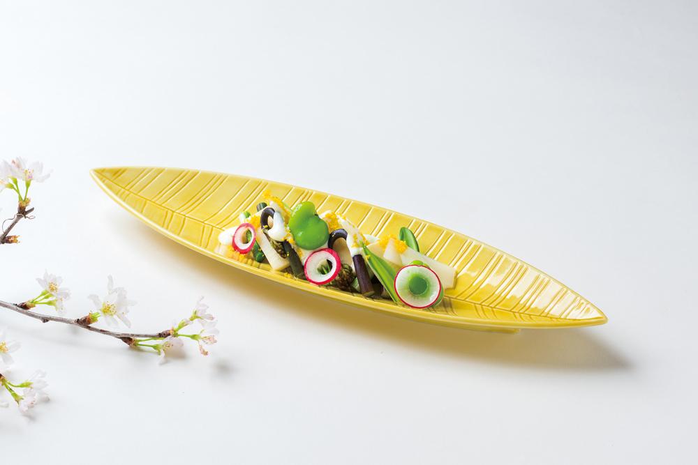 山菜味噌風味(ヨーグルト掛け、山独活、蕨、行者大蒜、筍、蚕豆、ラレシ、煎り玉、プレーン、ヨーグルト、白漉し味噌)