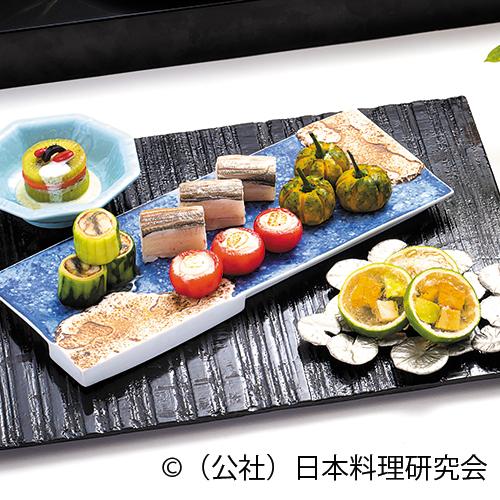 サーモン・キウイ博多、鰻砧巻、変り南瓜、トマト・帆立鋳込クリーム焼、鮑蚕豆ライム寄せ