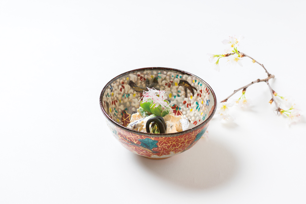山菜白酢和え(山独活、蕨、浅葱、筍、蚕豆、ラレシ)