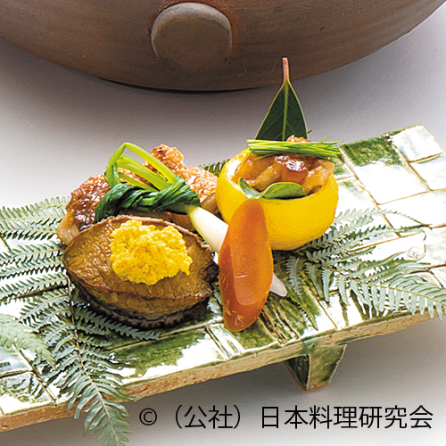 甘鯛付焼、柚子釜盛り鱈白子七味焼、鮑柚子胡椒焼