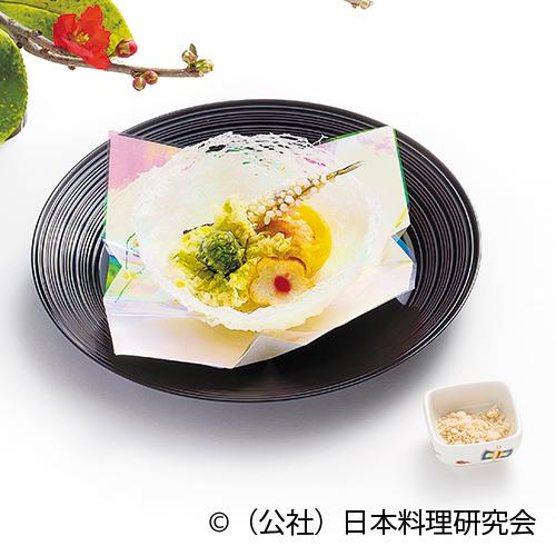 網笠柚子白扇揚、楤の芽、梅花芋、公魚道明寺揚