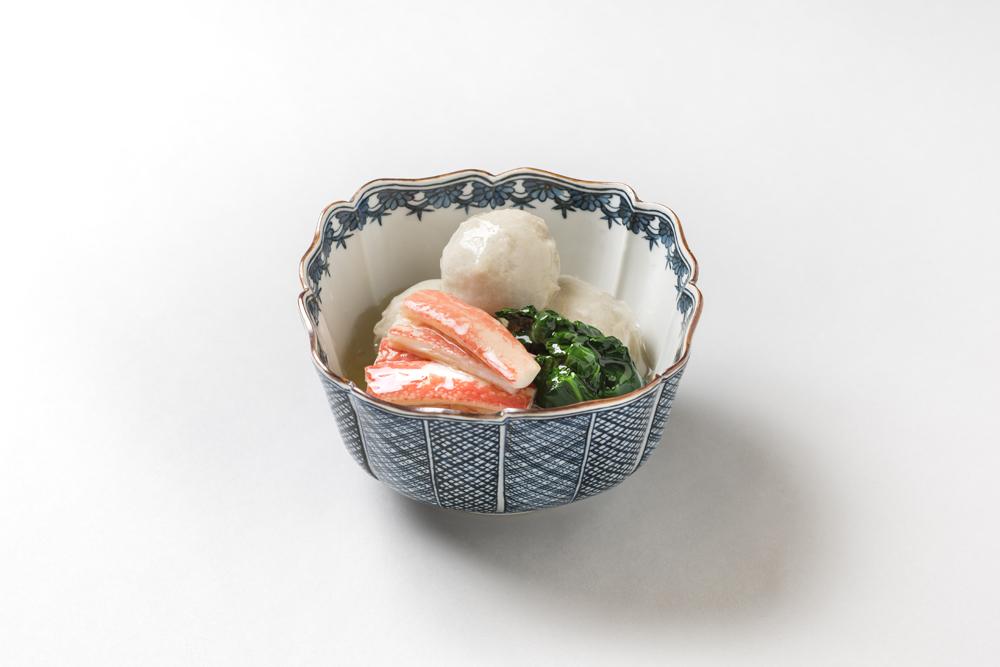 海老芋饅頭(蟹吉野煮、 菠薐草、 露生姜)