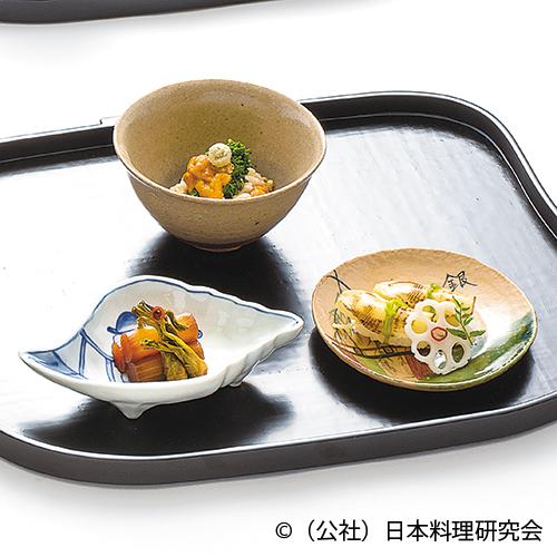 菜の花・生海胆胡麻豆腐和え、筍木の芽ずし、独活・楤の芽金平