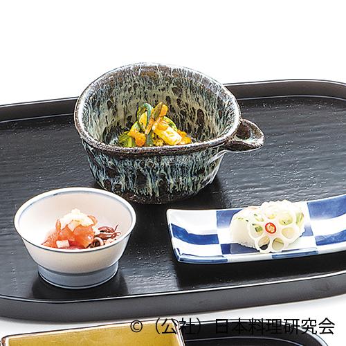 山菜菜種和え、鯛木の芽ずし、蛍烏賊トマトソース掛け