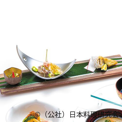 甘鯛二種焼、平貝・茸湯葉包揚