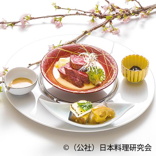 かいのみ炙り胡麻山椒フォンドボー茶碗蒸しの上に、丸茄子・チーズ西京焼