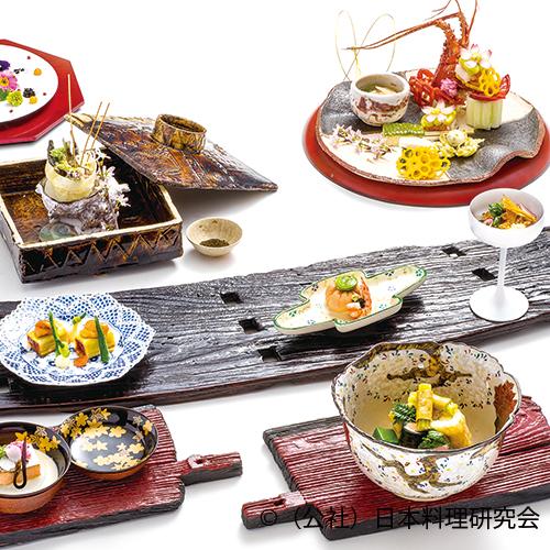 曙茶巾豆富、飯蛸桜煮、和牛山菜巻