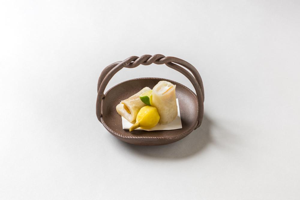 白子豆福春巻(慈姑、酢橘)
