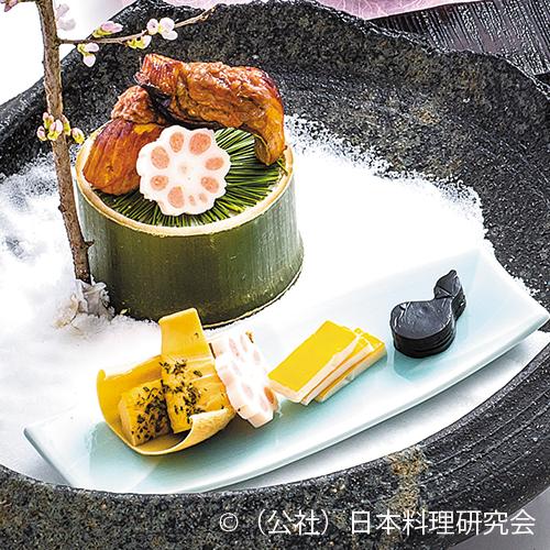 桜鱒燻し蕗味噌焼、筍木の芽焼