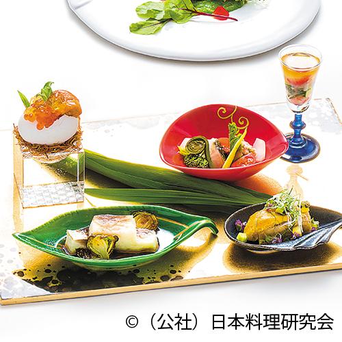 新緑ムース、焼ばなな田楽、蓴菜ソーダ、伊佐木昆布〆山菜サラダ、鯵根セロリ寄せ