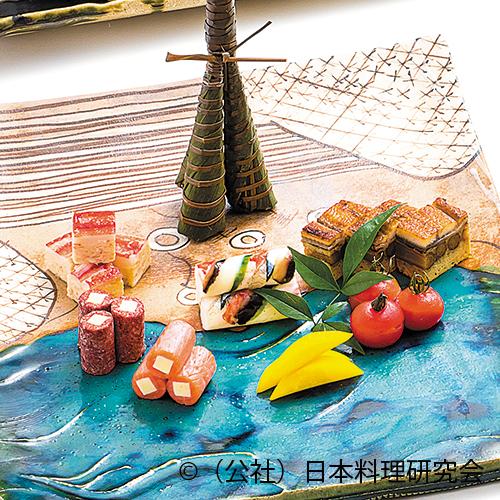 鰻筏もどき、ずわい蟹霙焼、サーモン・コンビーフ文銭チーズ、五色手綱芋寿司、ペティトマト印籠焼
