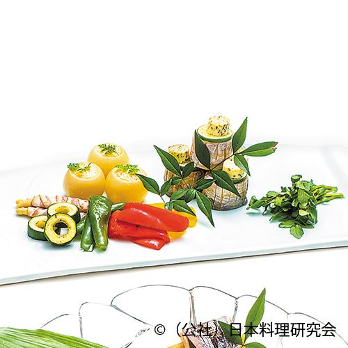 太刀魚ムニエル、玉葱印籠蟹クリーム焼