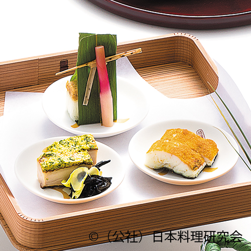 真子鰈唐墨焼、地鳥諸味焼、鱧寿司、岩茸山葵和え