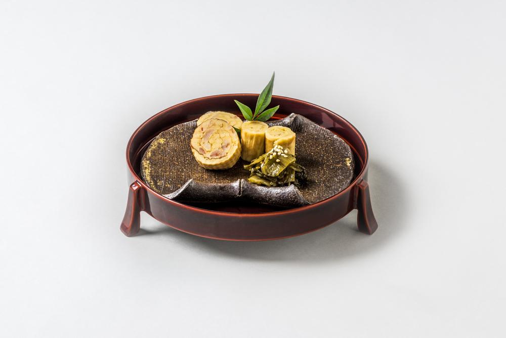 海老伊達巻(柚子伊達巻、高菜炒め煮)