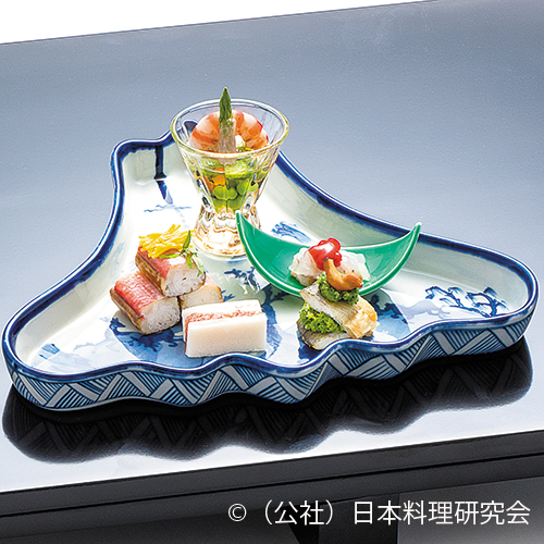 金目寿司、鰻博多、伊勢海老内子和え、新緑和え