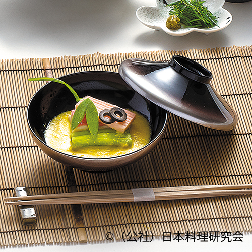 玉蜀黍擂流し、金目鯛焼き締め、短冊海老素麺