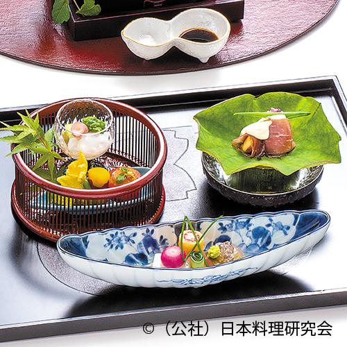 サーモンパイン巻、姫鯛昆布〆フレーバーパール、養老豆腐、地蛸・蓮芋、トマト釜、無花果生ハム巻