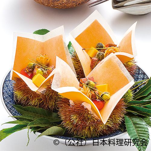 柚子かすてら、松毬糝薯、柿万願寺、零余子黄身揚、魳柿の葉寿司、秋鴨スモーク