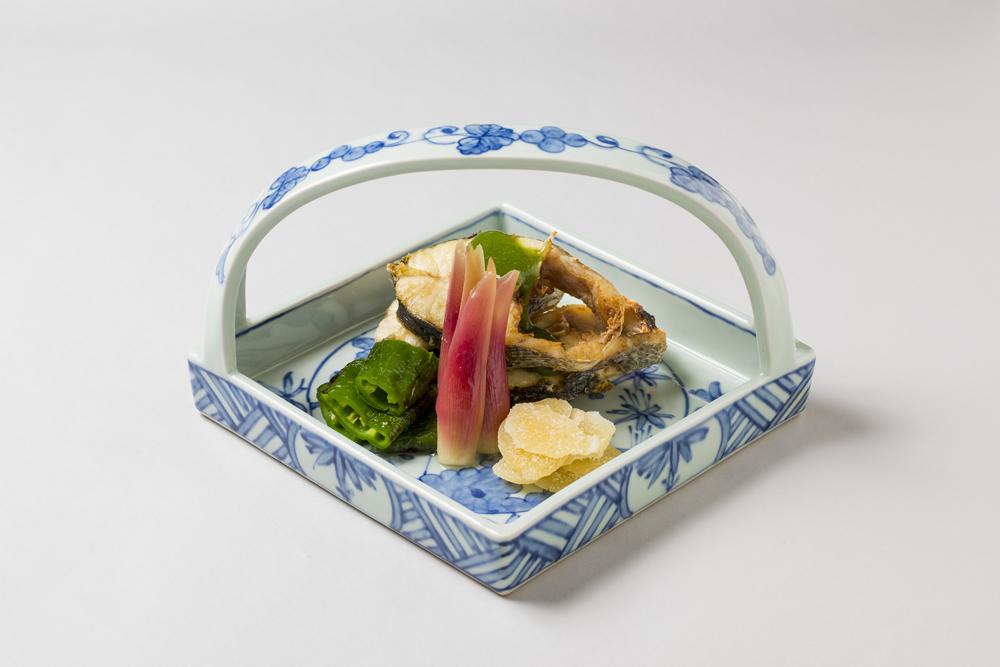 鱸油焼(万願寺青唐、焼浸し、粉吹生姜、酢取茗荷子、蓼酢)