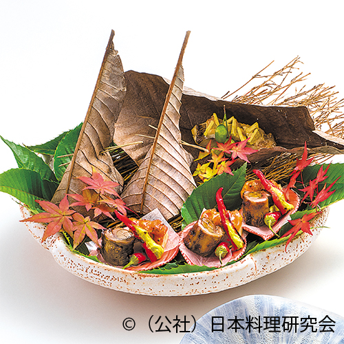 甘鯛丹波焼、鶉八幡巻、帆立糝薯雲丹巻