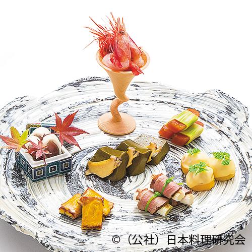 鮑ウロ豆腐、新唐墨苣巻、鰻黄身焼、雲子チーズ焼、秋刀魚小川、冬鴨葱巻、甘海老香漬