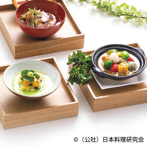 パセリ温豆腐彩り野菜湯葉餡掛け、蓬餅醤油麹鍋