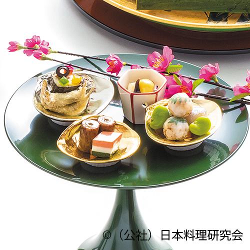 平貝・鳥貝・分葱、酢味噌掛け針魚・烏賊手毬寿司、姫栄螺クリーム焼、稚鮎香煎揚、牛ロース蕗巻、チーズ・サーモン寄せ