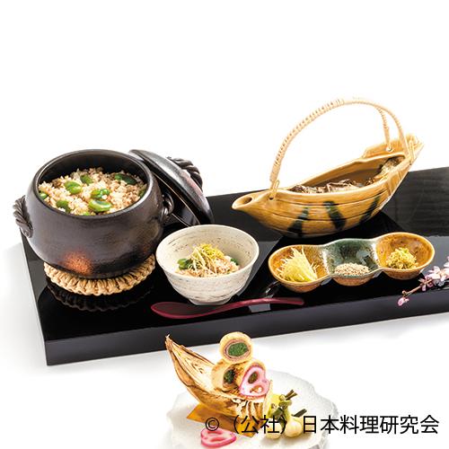 蕎麦米・蚕豆・釜飯岩魚出汁茶漬