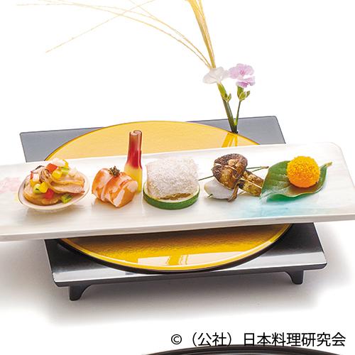 甘鯛翁焼、海老雲丹寿司、温度玉子味噌漬、蛤バター焼
