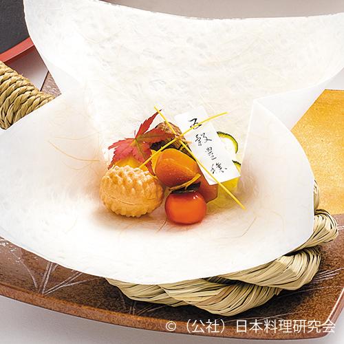 慈姑かすてら、鮟肝最中、柿百合根、土竜芋、魳小袖寿司、唐墨ブランデー干