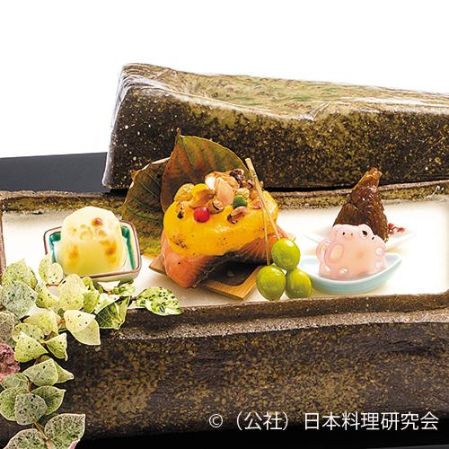 秋鮭素焼、帆立燻製チーズ焼