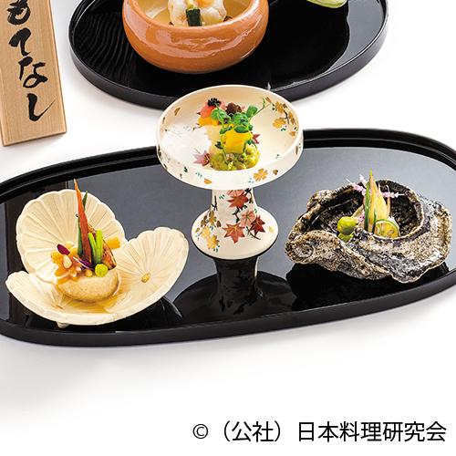 海鼠腸豆腐、焼無花果、名残骨抜鱧昆布〆、鮭燻製生湯葉鳴門巻