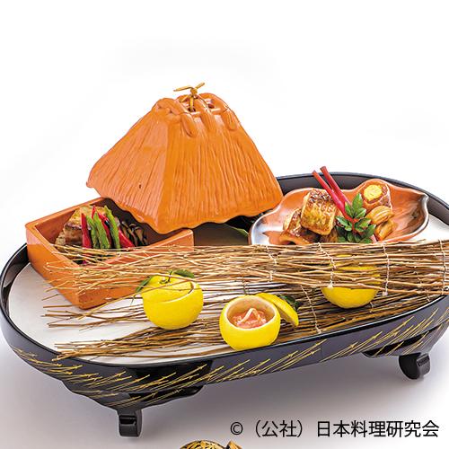 赤むつスモーク柚庵焼、鋳込み干柿、牛ロース味噌麹焼