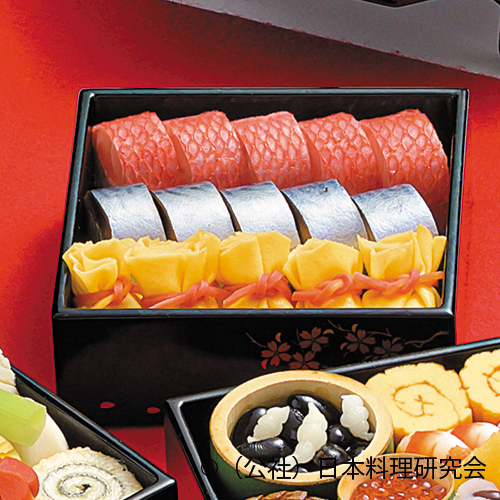 金目鯛棒寿司、鯖寿司、蟹茶巾寿司
