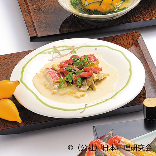 金目鯛・舞茸・占地玉子豆腐