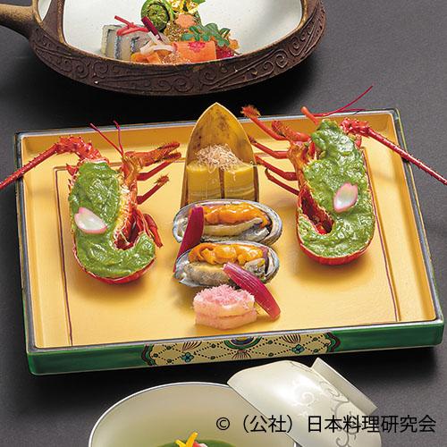伊勢海老木の芽味噌焼、姫鮑海胆焼、筍土佐焼