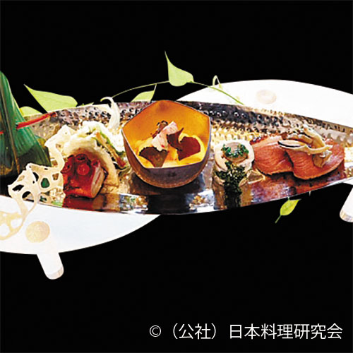 太刀魚八幡巻、合鴨ロース茸和え、鱚・唐墨挟み揚、車海老・柿白和えトリュフまぶし、蛸柔らか煮、穴子寿司
