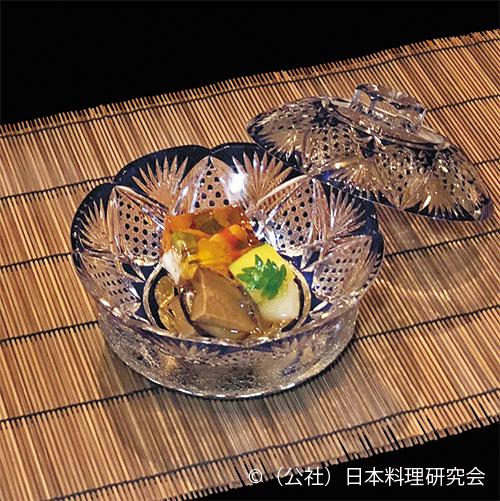 海老・雲丹オクラ寄せ、鮑柔らか煮、南瓜含め、椎茸、冬瓜スープ煮
