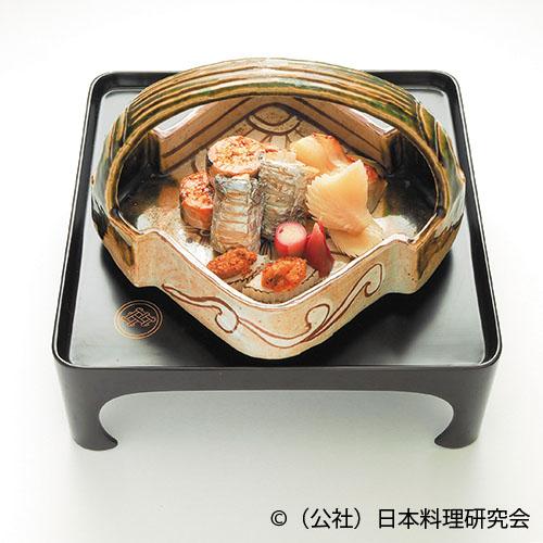 鯧味噌幽庵焼、太刀魚南蛮焼、秋鮭巻繊焼、里芋雲丹焼