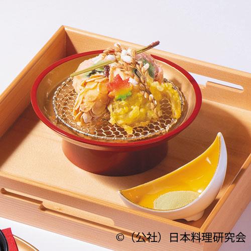 秋鮭チーズ東寺巻、松笠海老糝薯