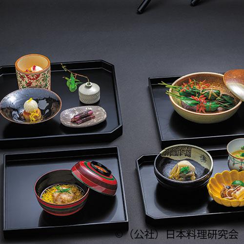 柿白和え、穴子笹焼、鮟肝土佐煮、笹巻寿司