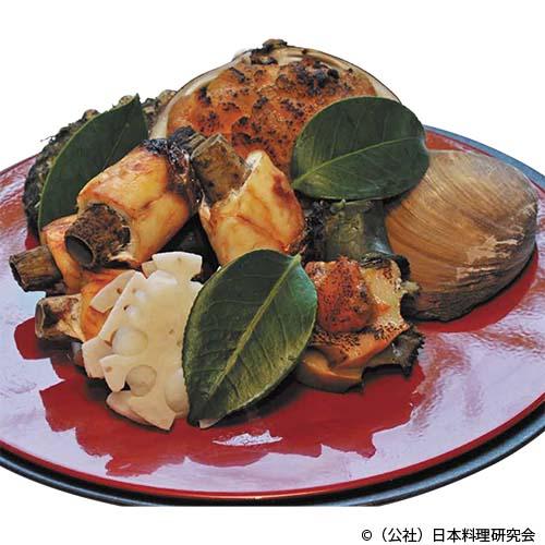いわき貝焼、鯛・牛蒡巻、鮑・雲丹焼